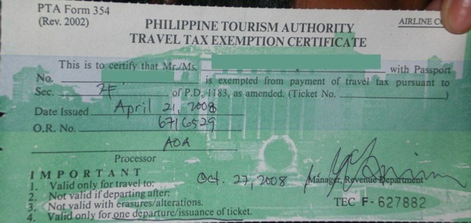 Travel Tax Exemption Certificate in the Philippines